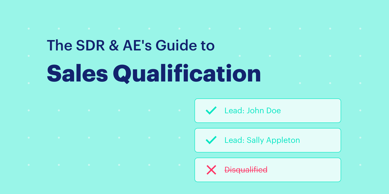 The SDR + AE's Guide to Sales Qualification