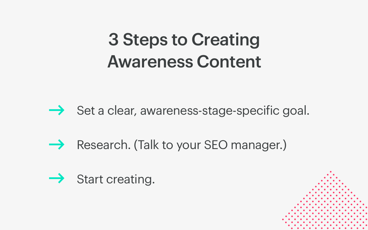 3 steps to creating awareness content.
