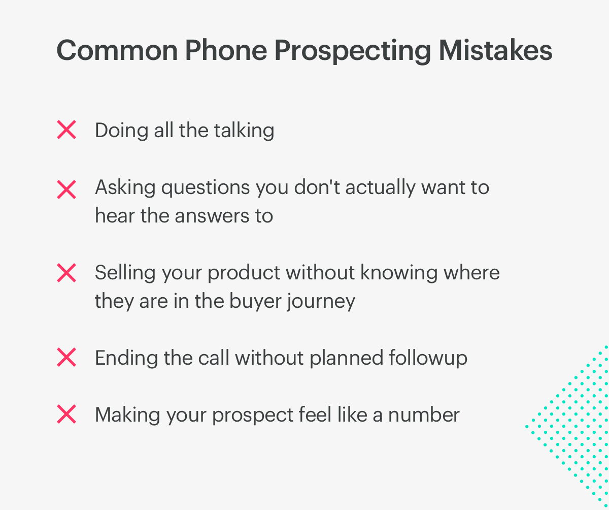 common phone sales prospecting mistakes.