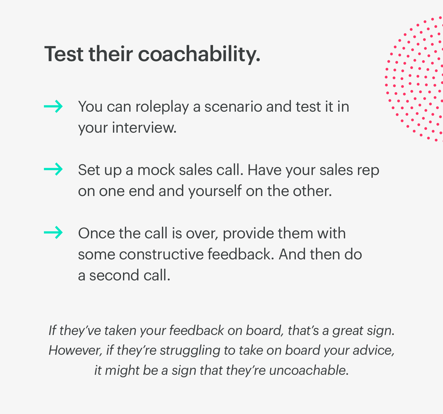 how to test a sales candidate's coachability