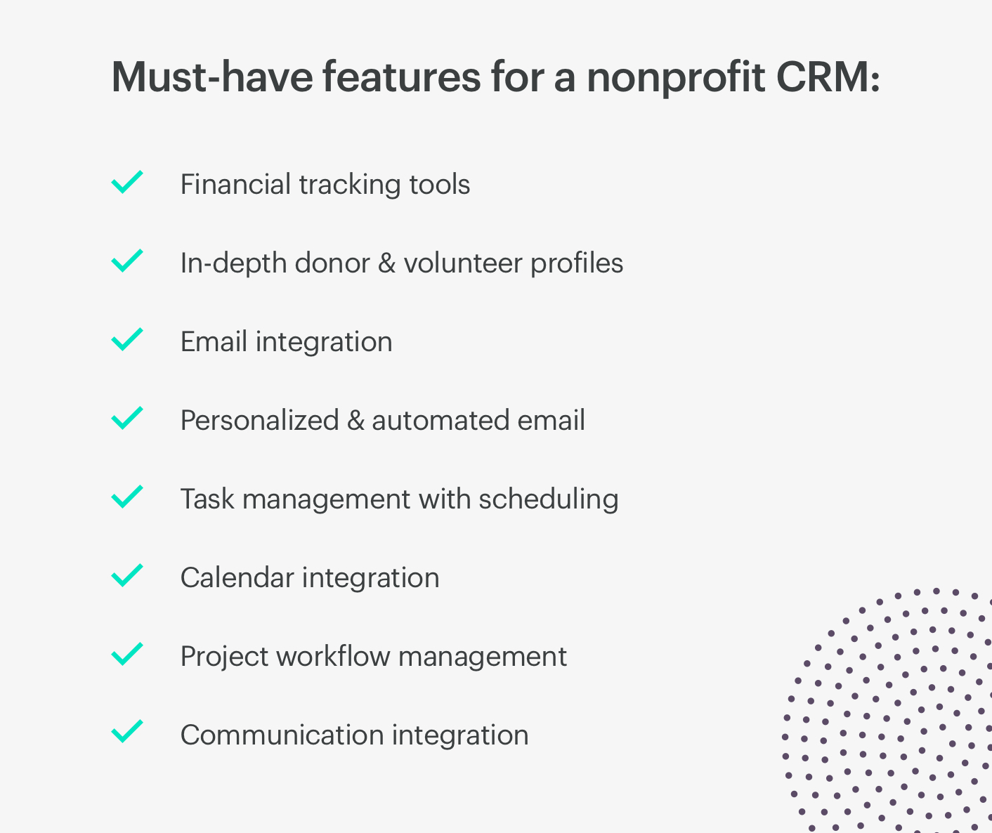 must-have features for a non-profit crm