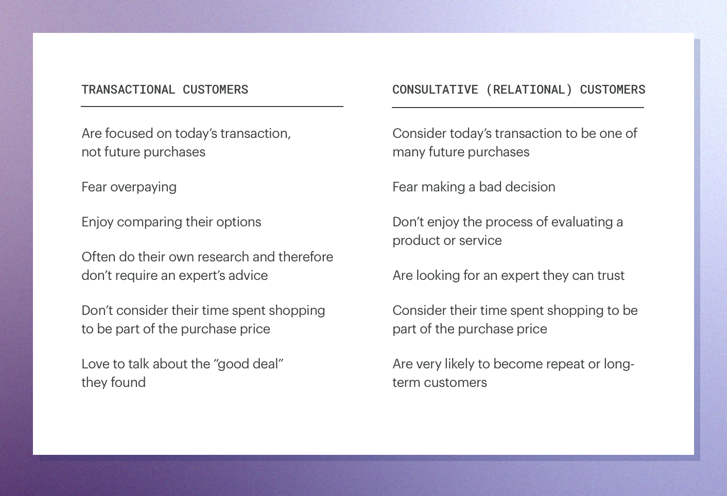 transactional vs. relational customers