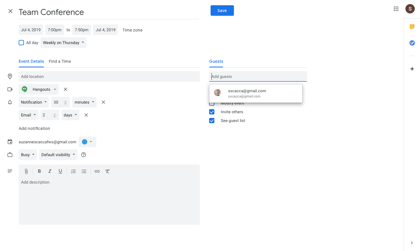 adding guests to a google calendar invite