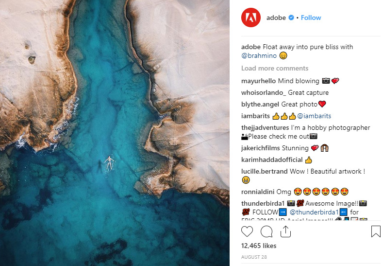 how adobe engages customers on instagram