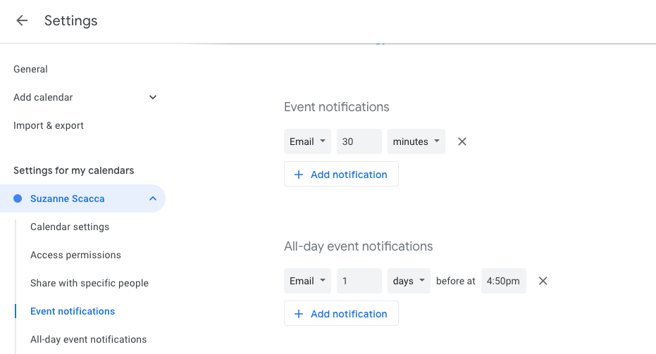 automating event notifications in gcal
