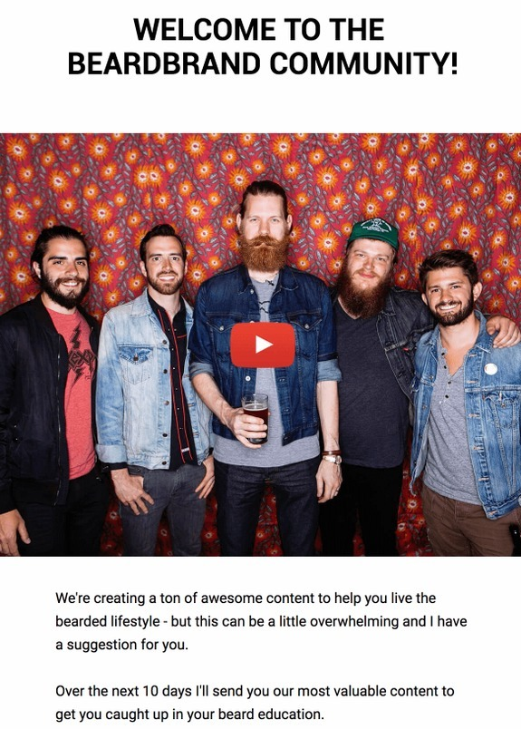 beardbrand welcome email