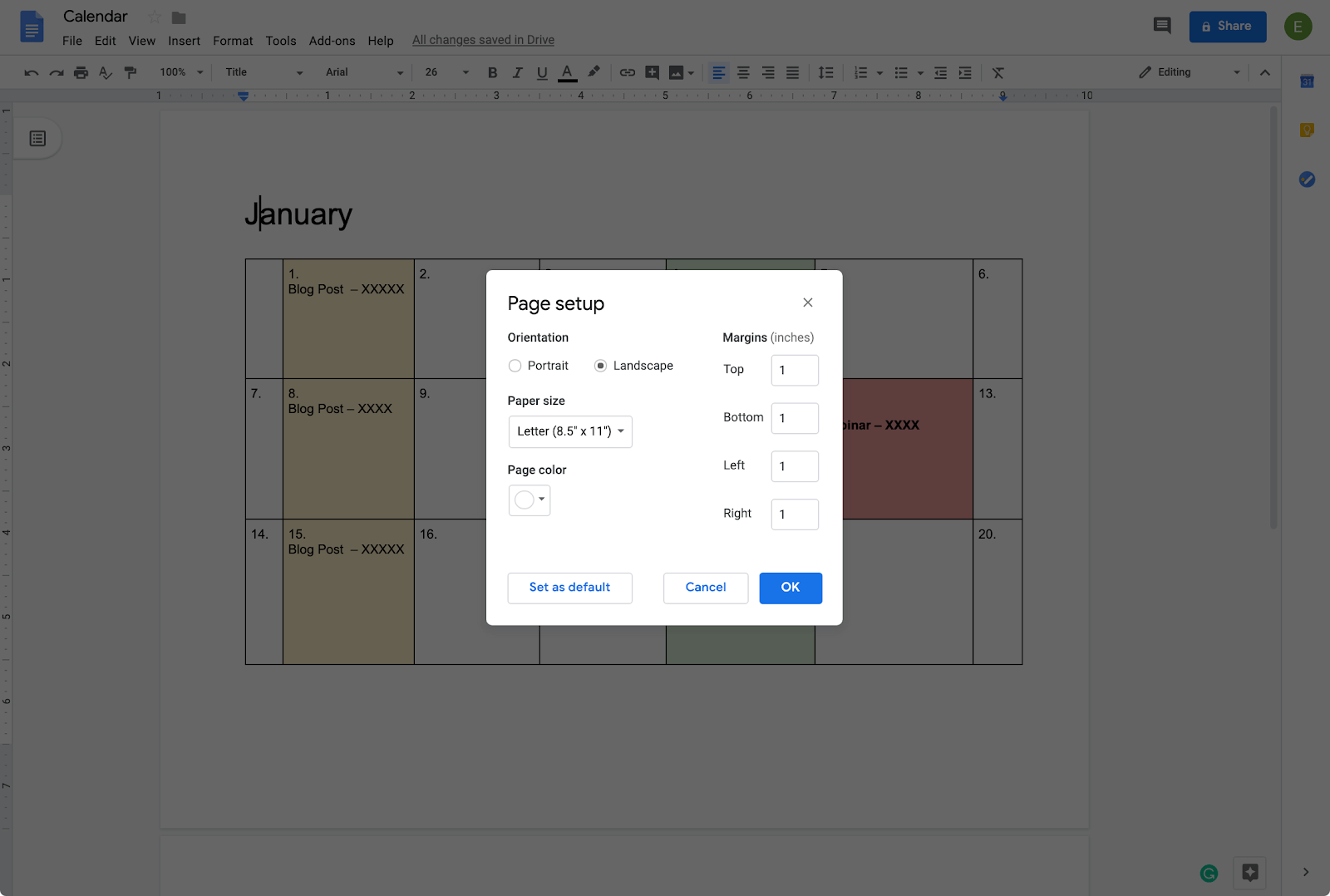 setting up orientation of calendar in google docs