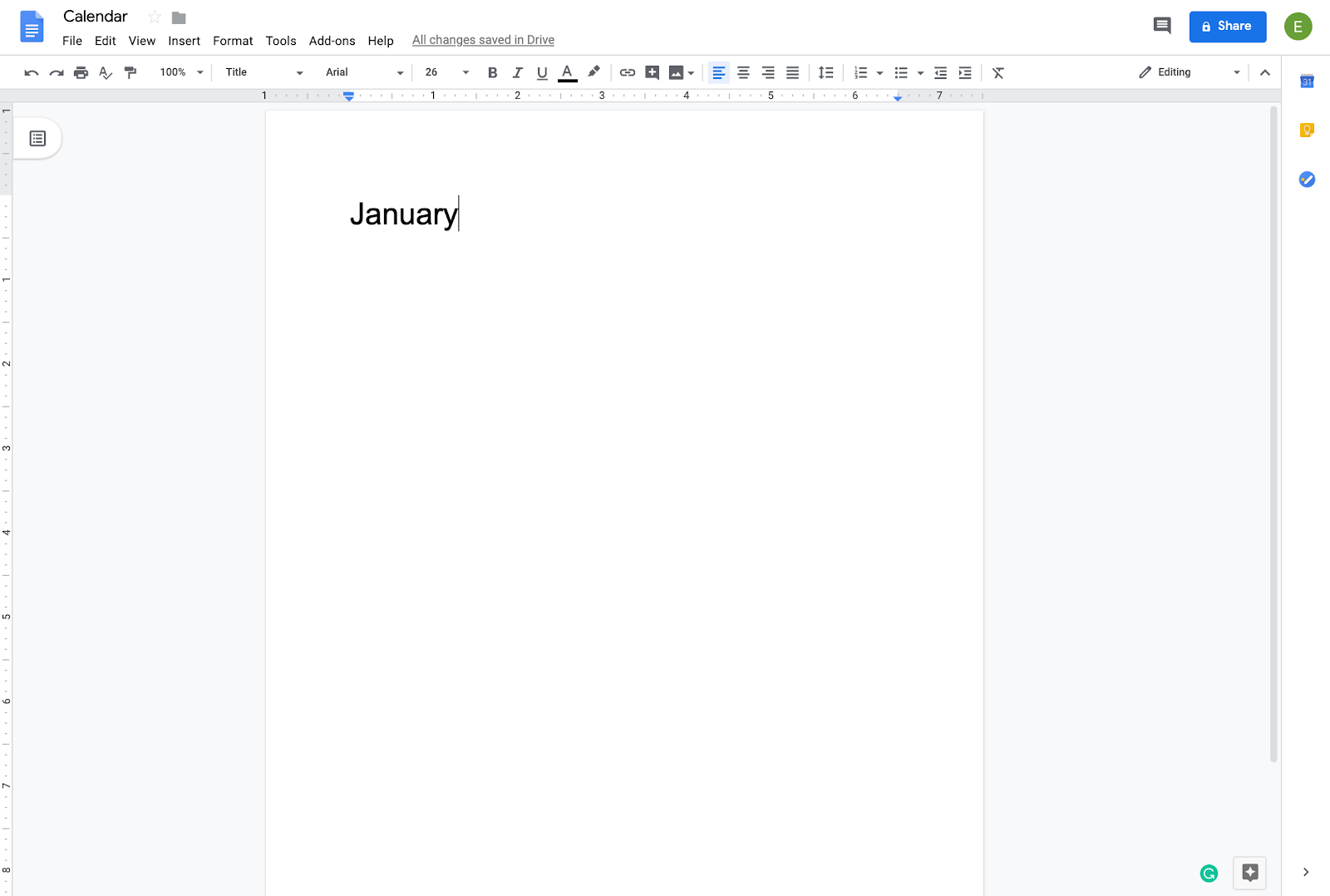 creating a calendar in google docs
