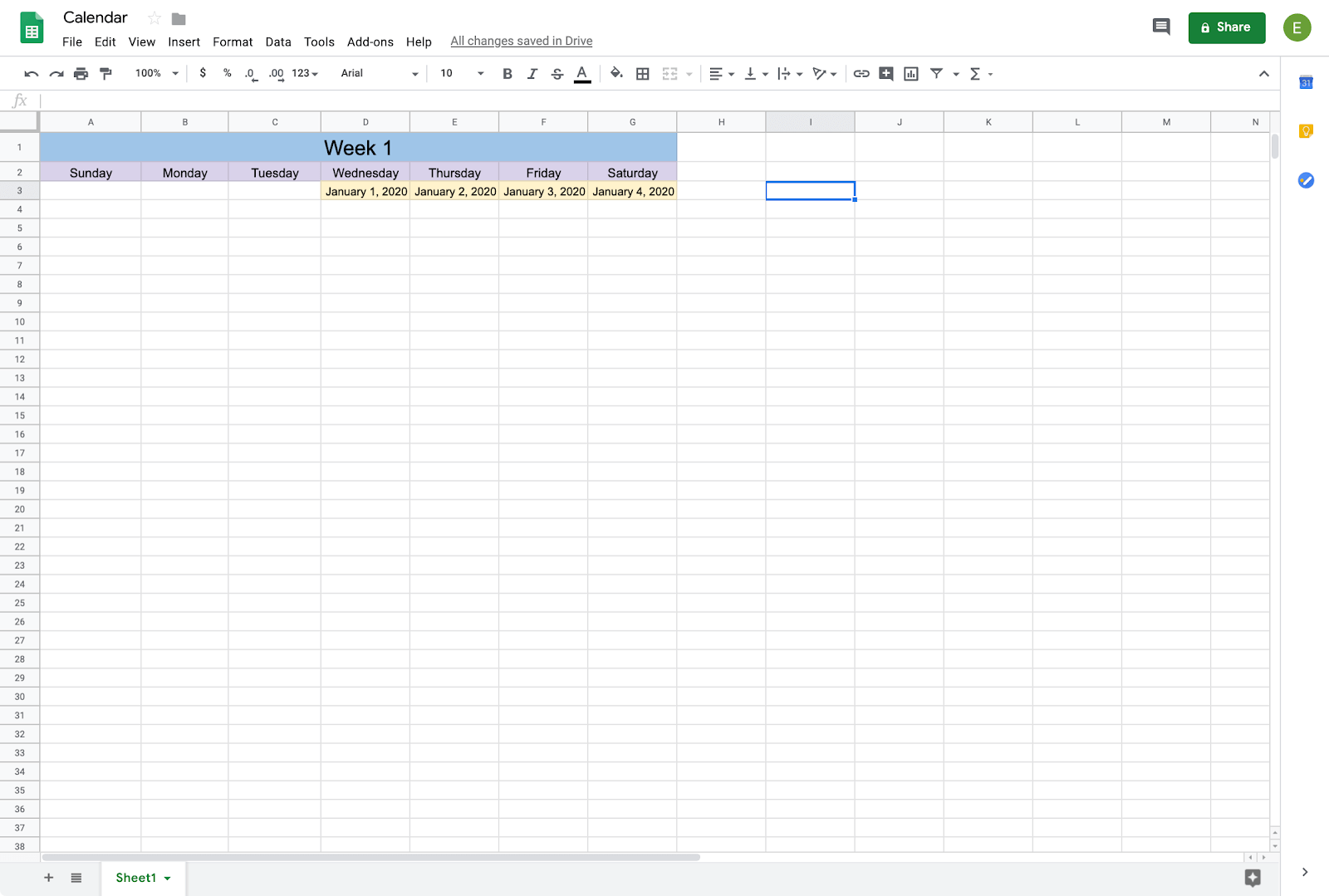 adding dates to a calendar on google sheets