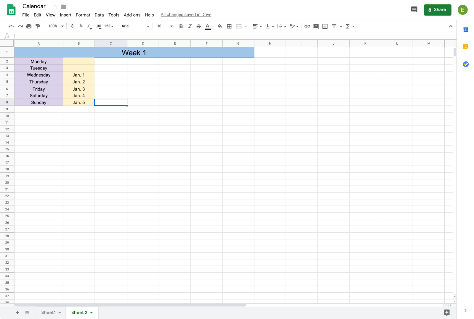 alternative format for calendar in google sheets