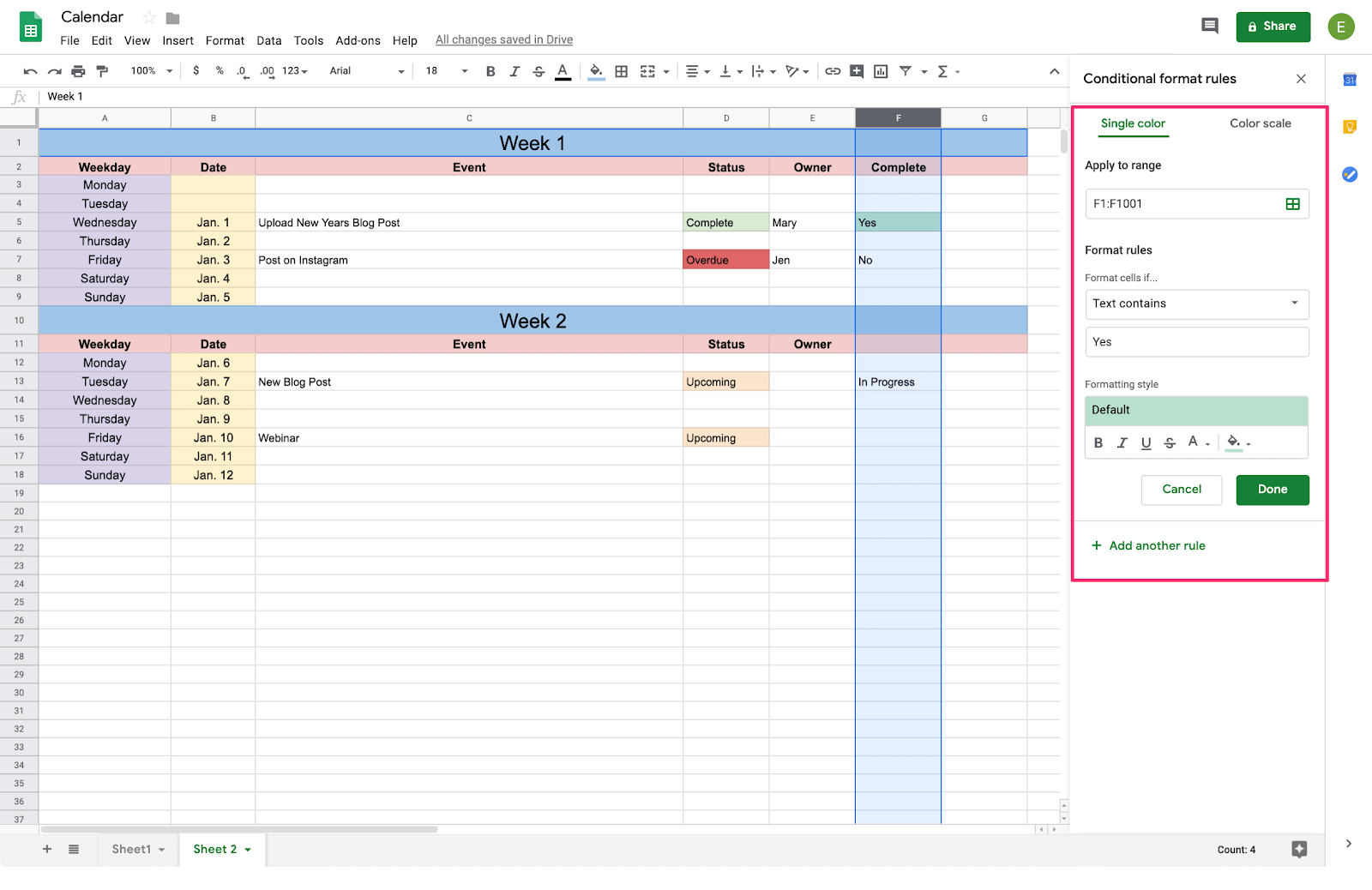 conditional formatting options for google sheets