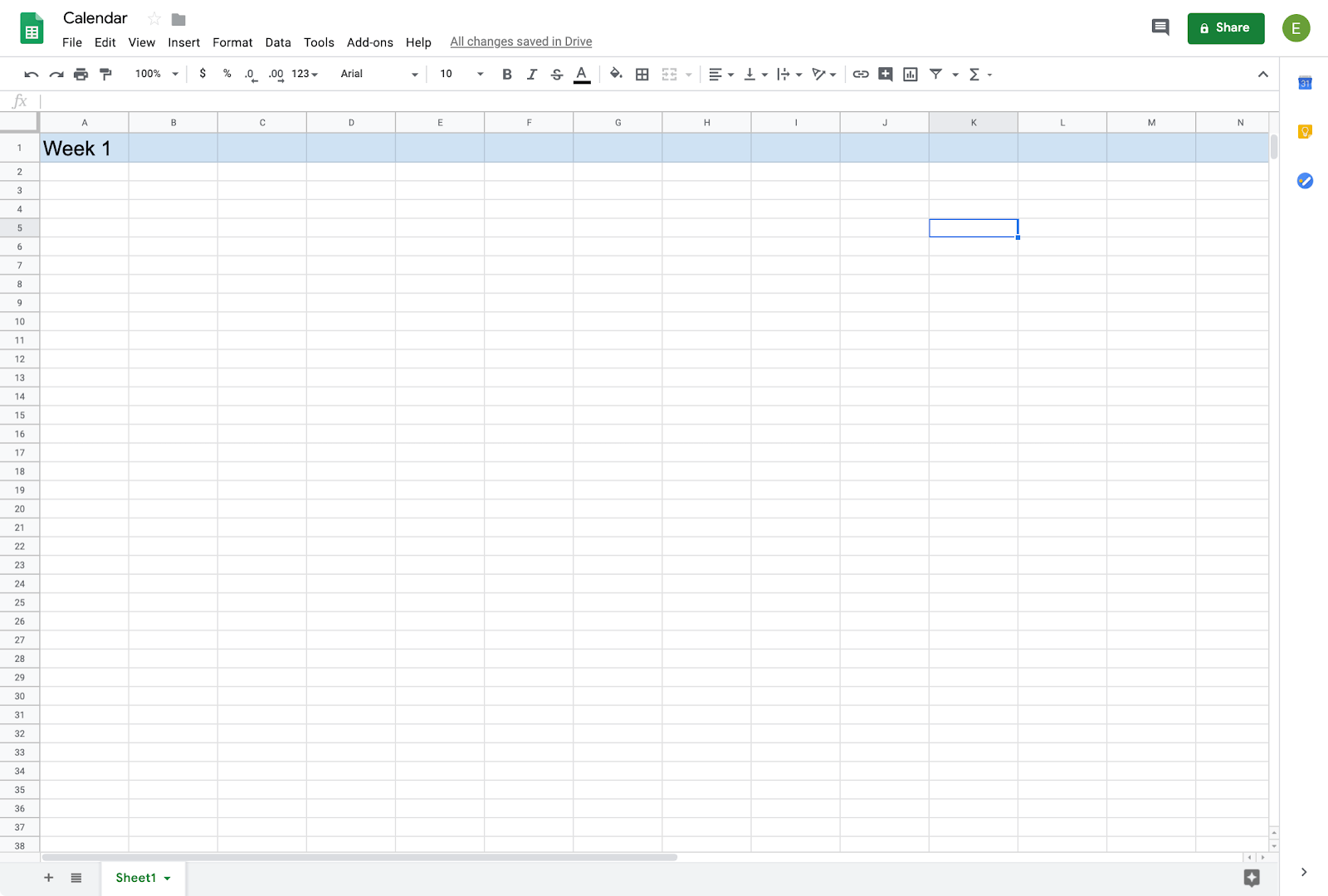 creating a calendar in google sheets