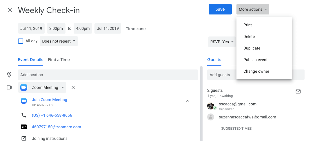transferring event ownership in google calendar