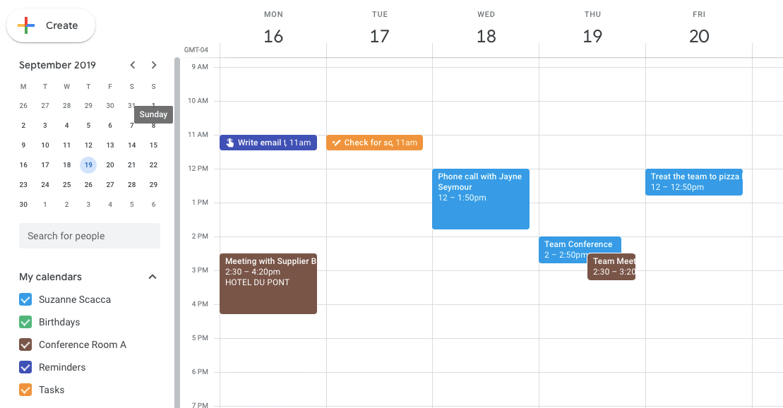 color-coded calendars in google calendar