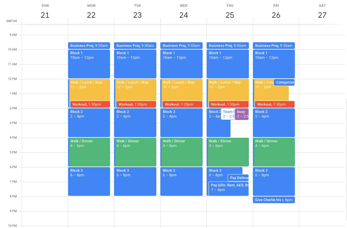 a color-coded schedule in google calendar