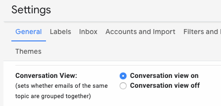 how to turn on conversation view in gmail