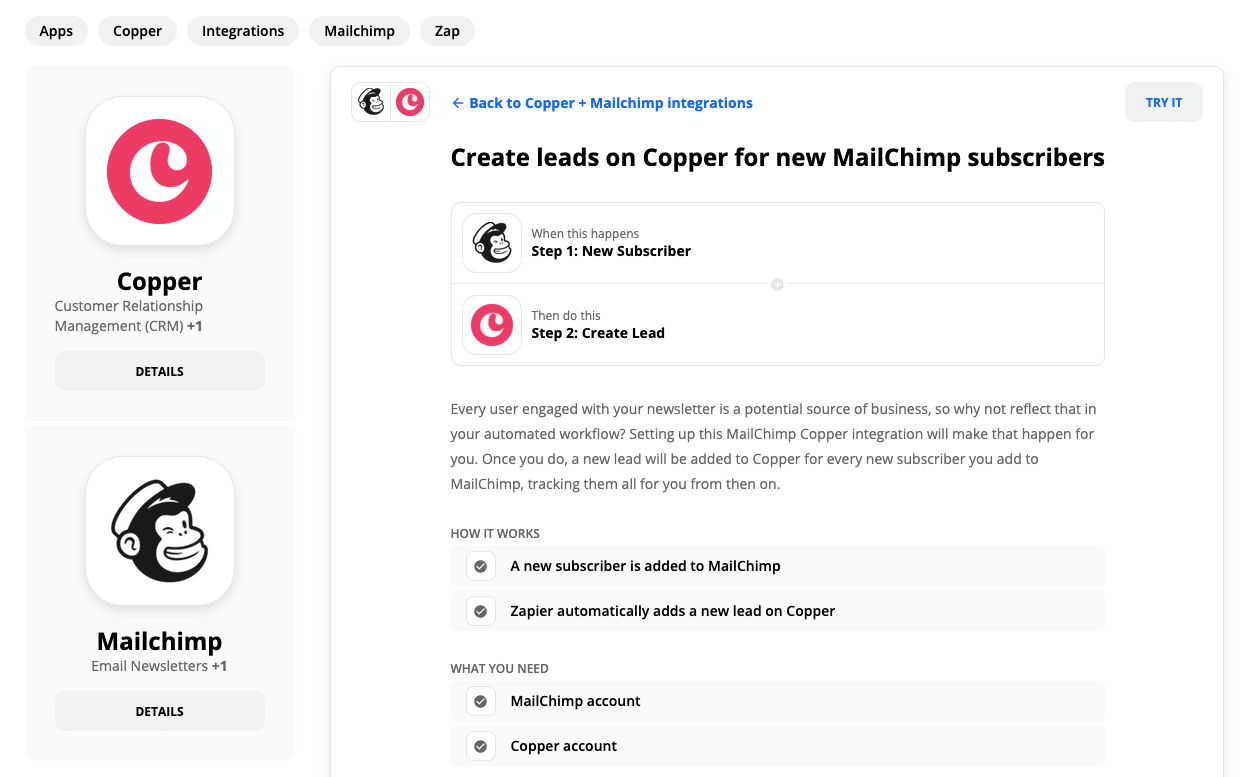 Copper-MailChimp Integration