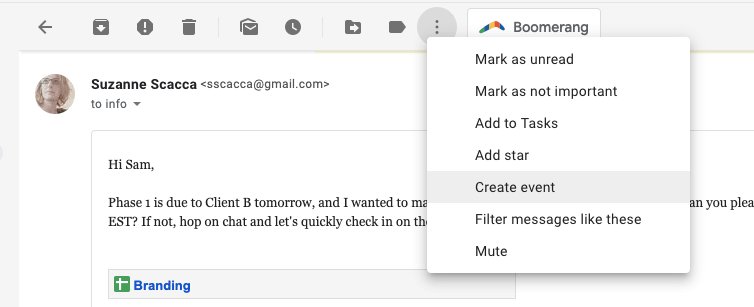 creating an event from gmail