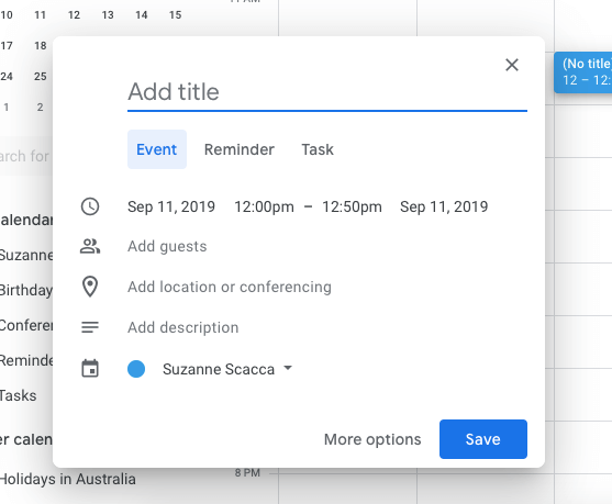 creating an event in google calendar