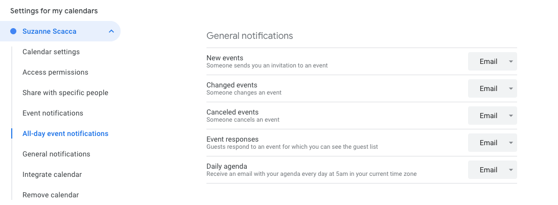 daily agenda emails from google calendar