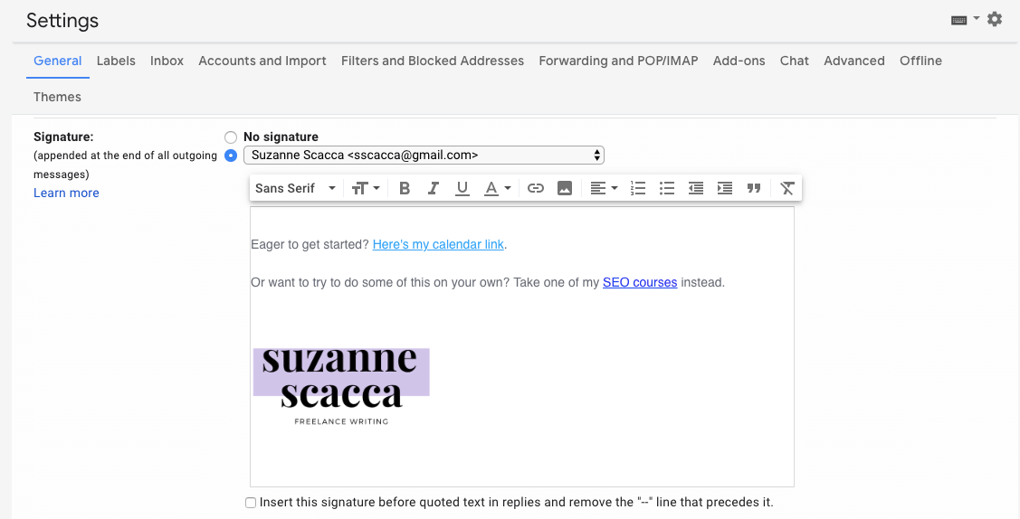 design signature creation in gmail
