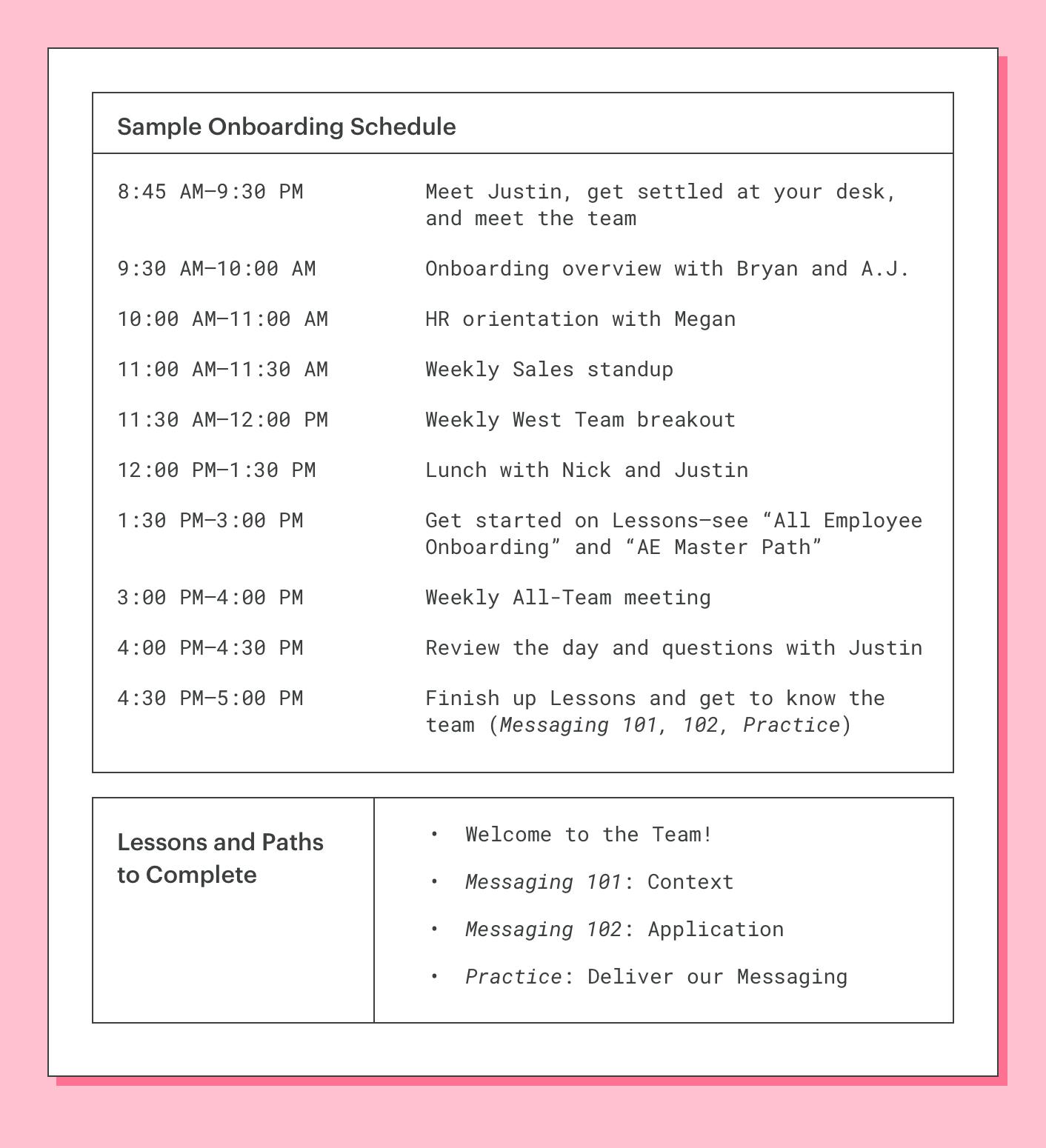 lessonly's sales onboarding schedule