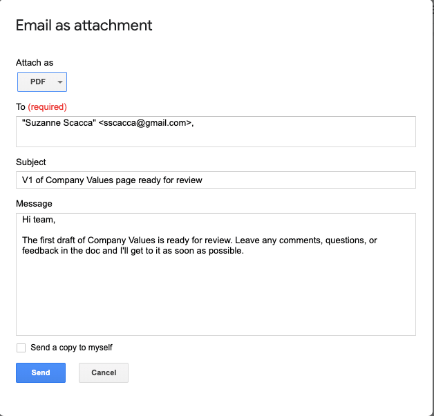 how to email a doc as attachment in google docs