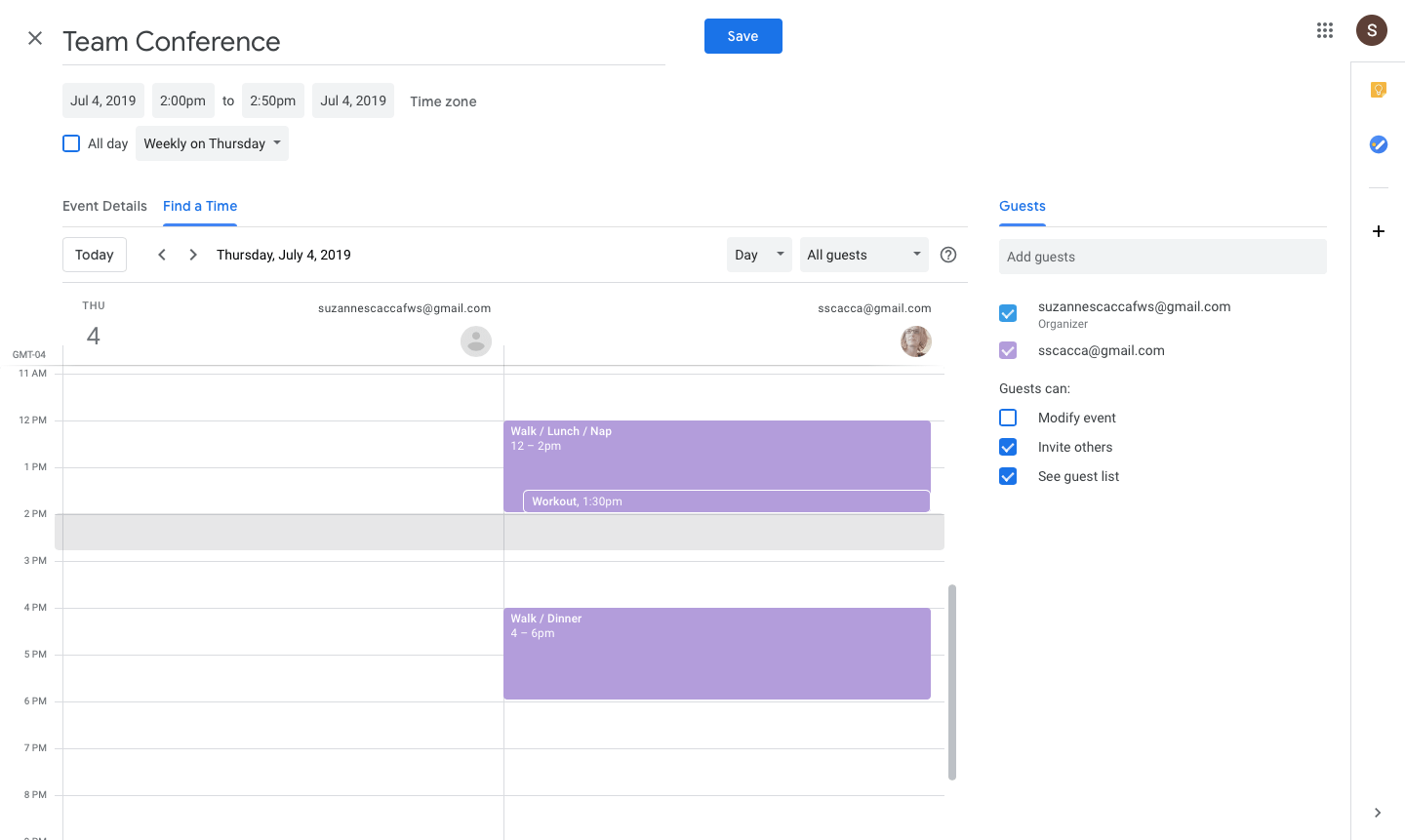 finding a time for multiple guests in google calendar