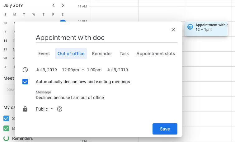 Out of Office setting in G Suite and Google Calendar