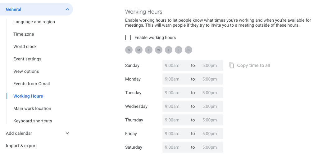 working hours in g suite and google calendar
