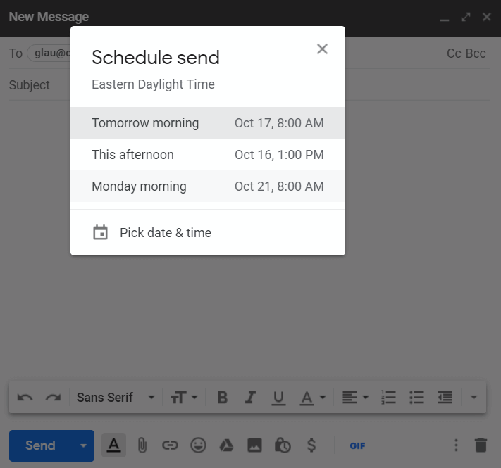 Gmail Scheduling