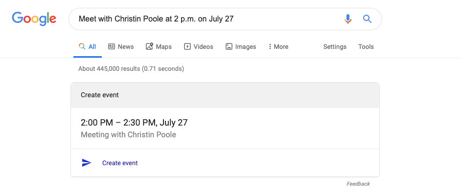 creating a gcal event in google