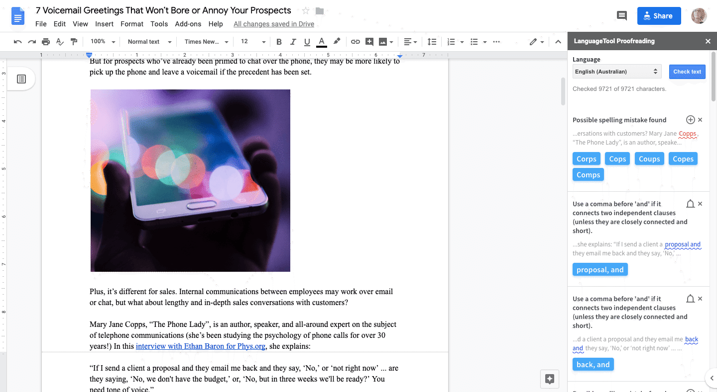 google docs proofreader