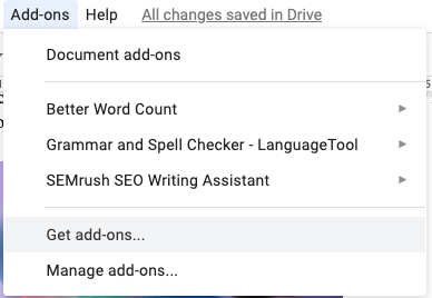 viewing google docs add-ons
