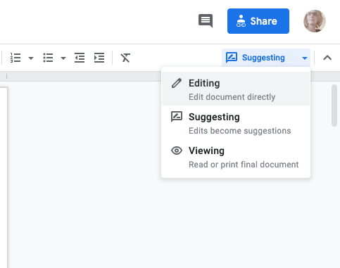google docs viewing modes