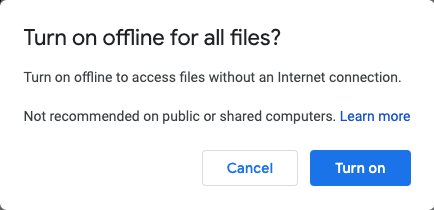 making google docs available offline