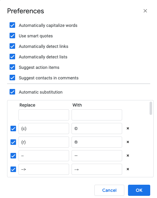 google docs preferences