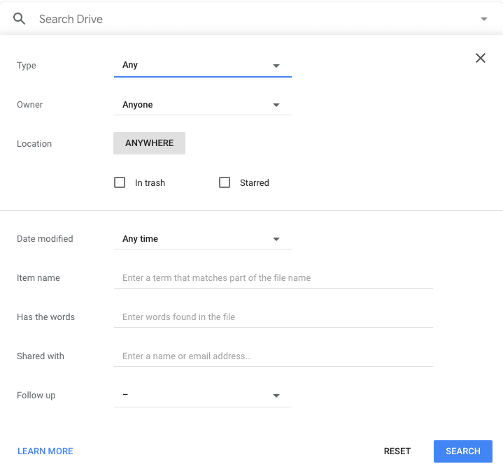 google drive advanced search function