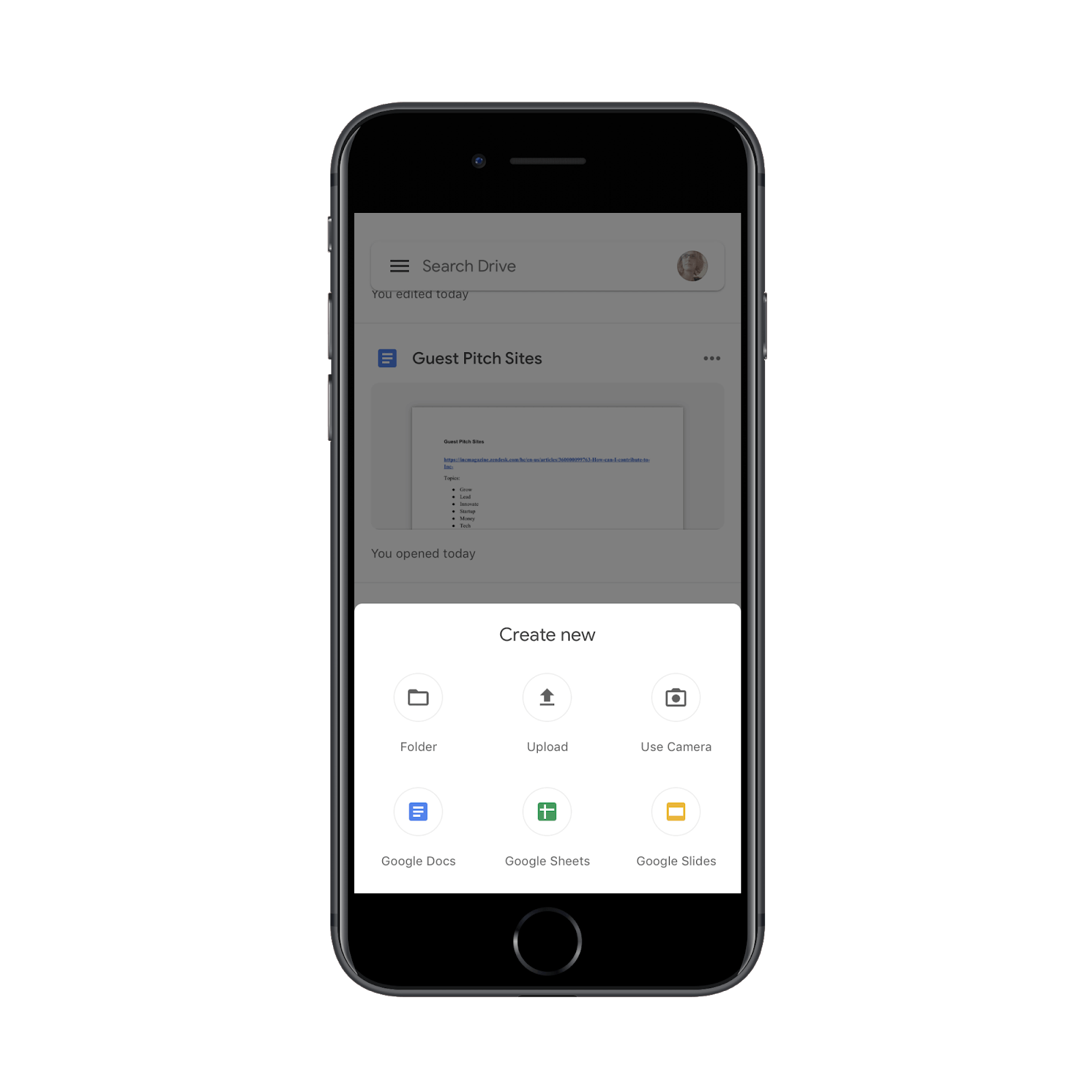 adding new files in google drive app