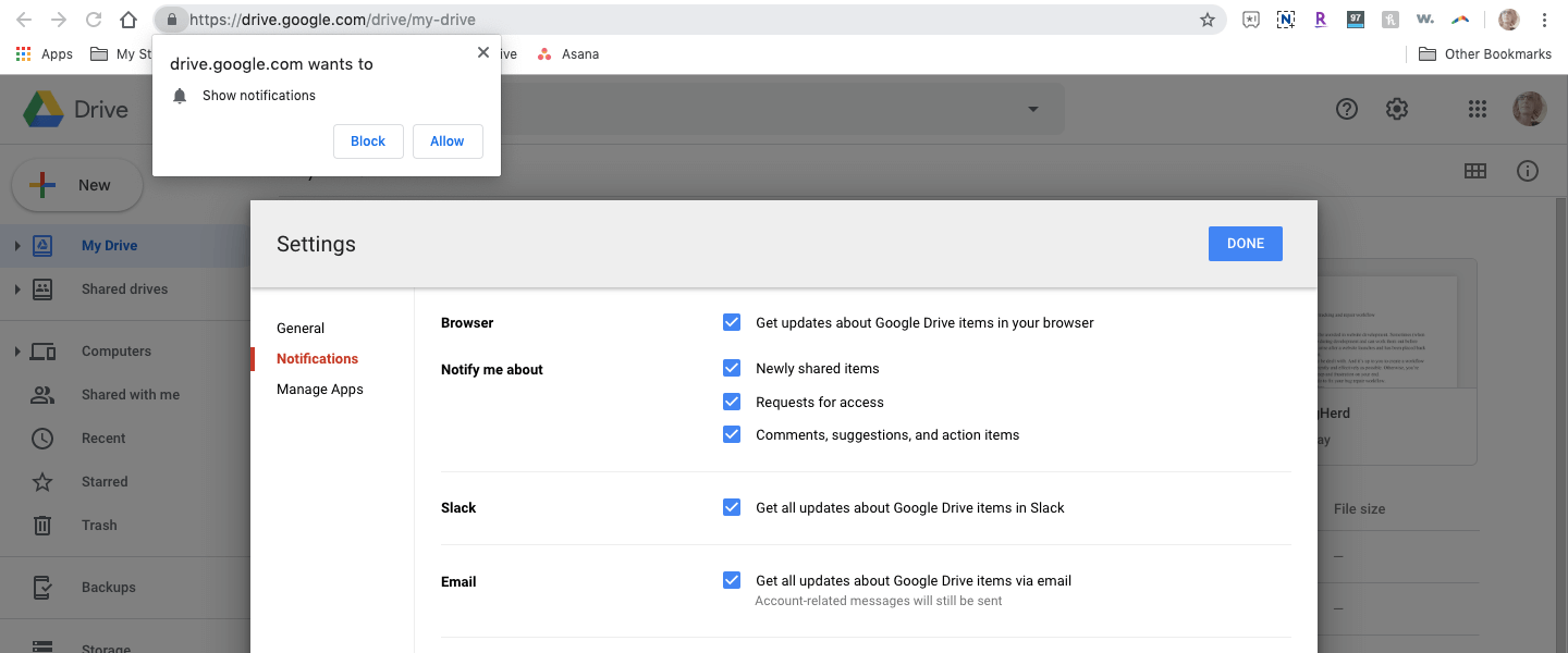 google drive push notifications