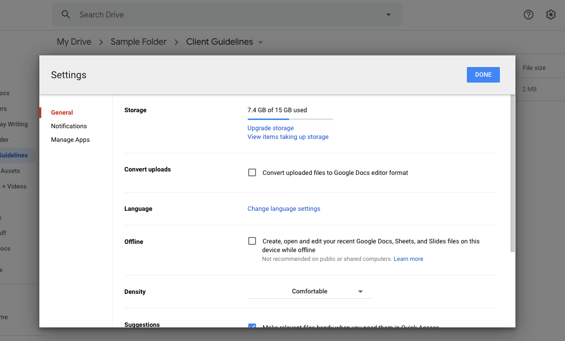 what's taking up space in google drive
