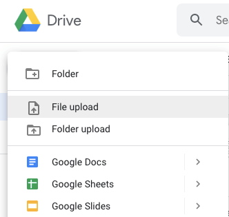 uploading a file in google drive