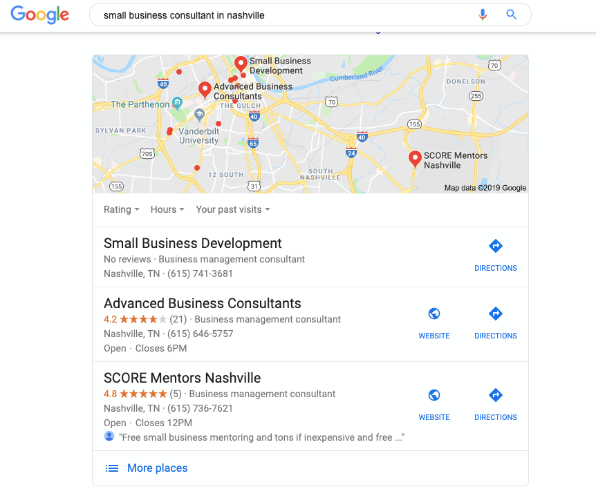 Google Local Search for consultants