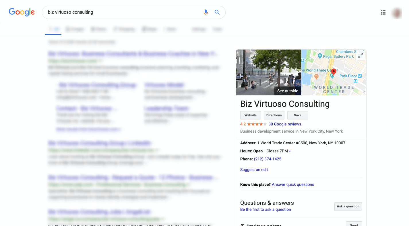 google my business for a consultant