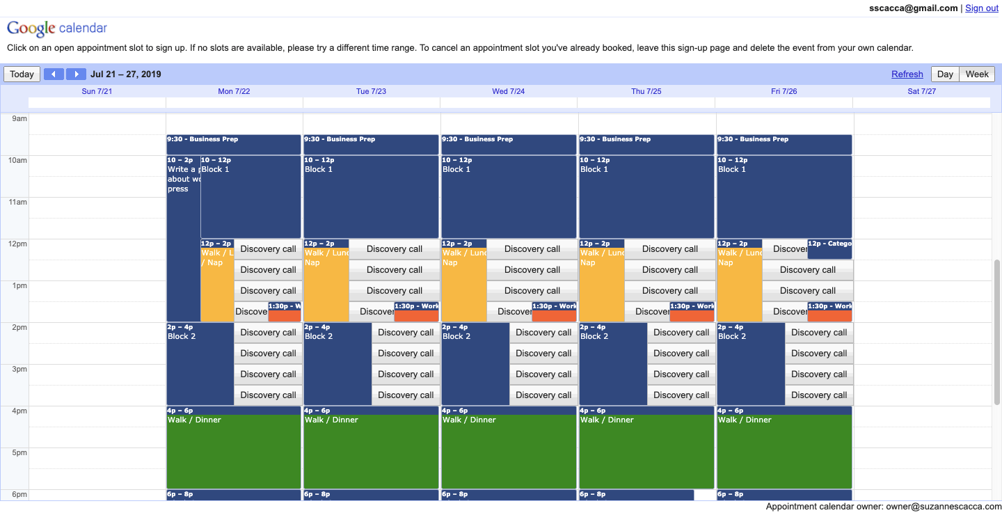 google calendar schedule with appointments