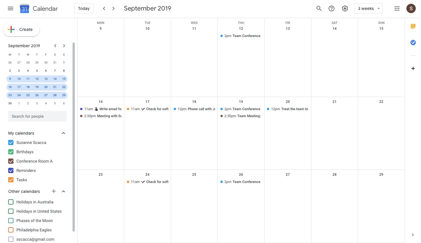 specific timeframe view in google calendar