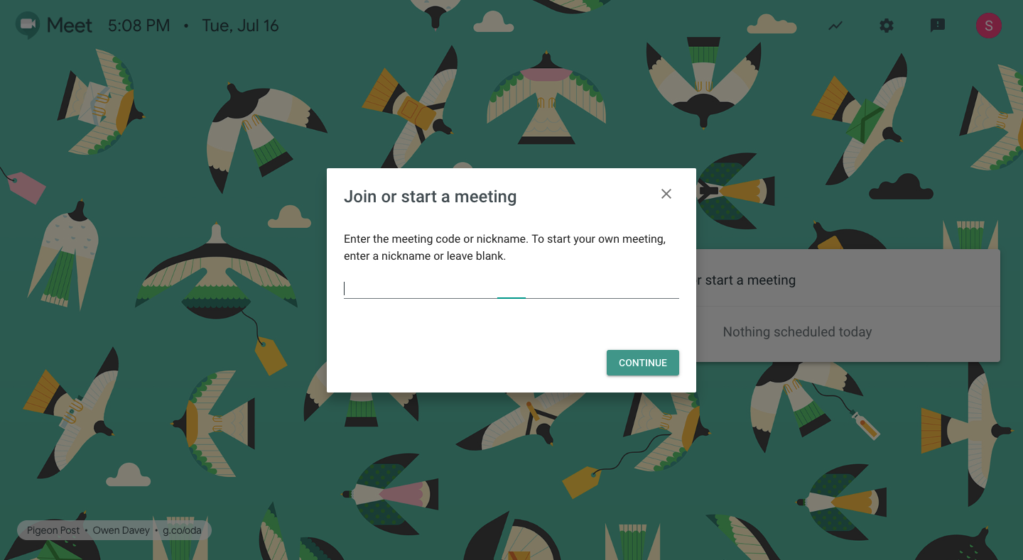 starting hangouts meet from a browser