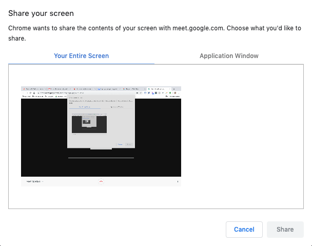 sharing screens in google hangouts