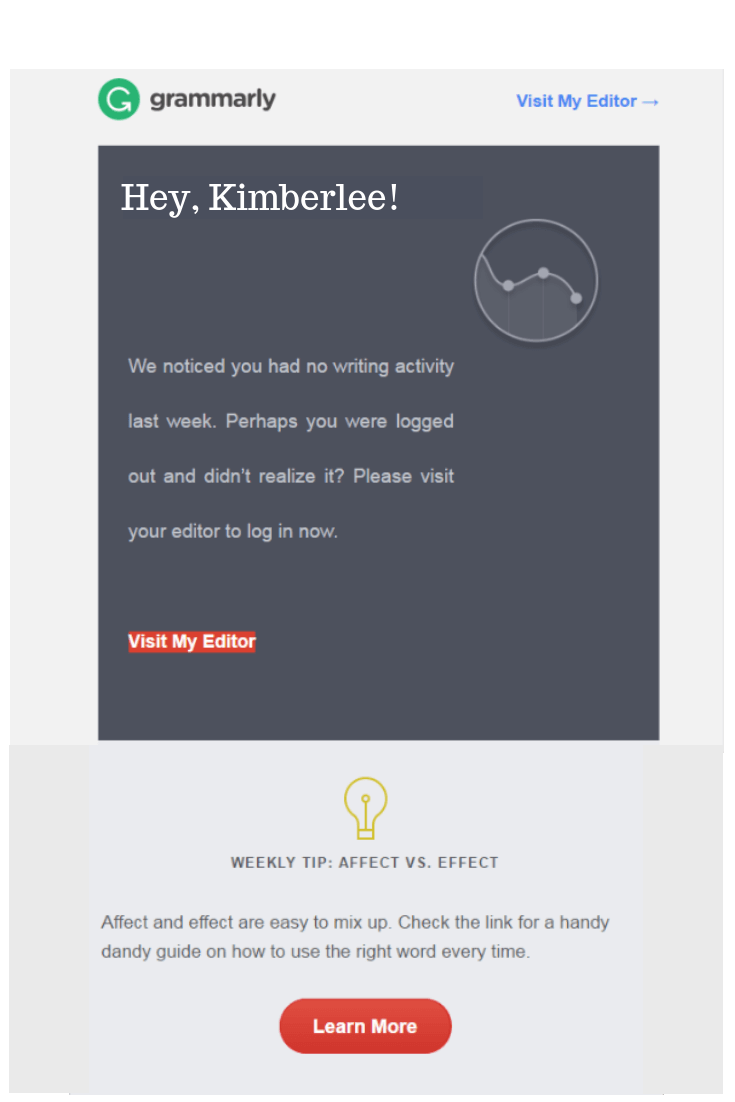 grammarly's re-engagement drip email campaign