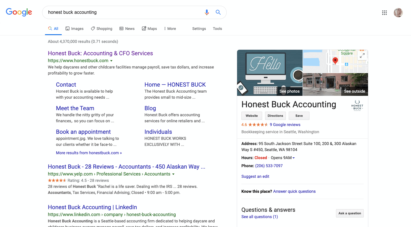 Honest Buck Accounting - Google My Business example